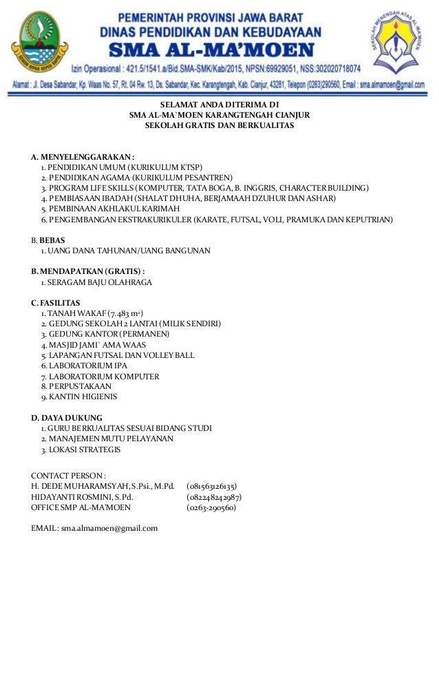 Formulir Pendaftaran Sma Al Ma Moen