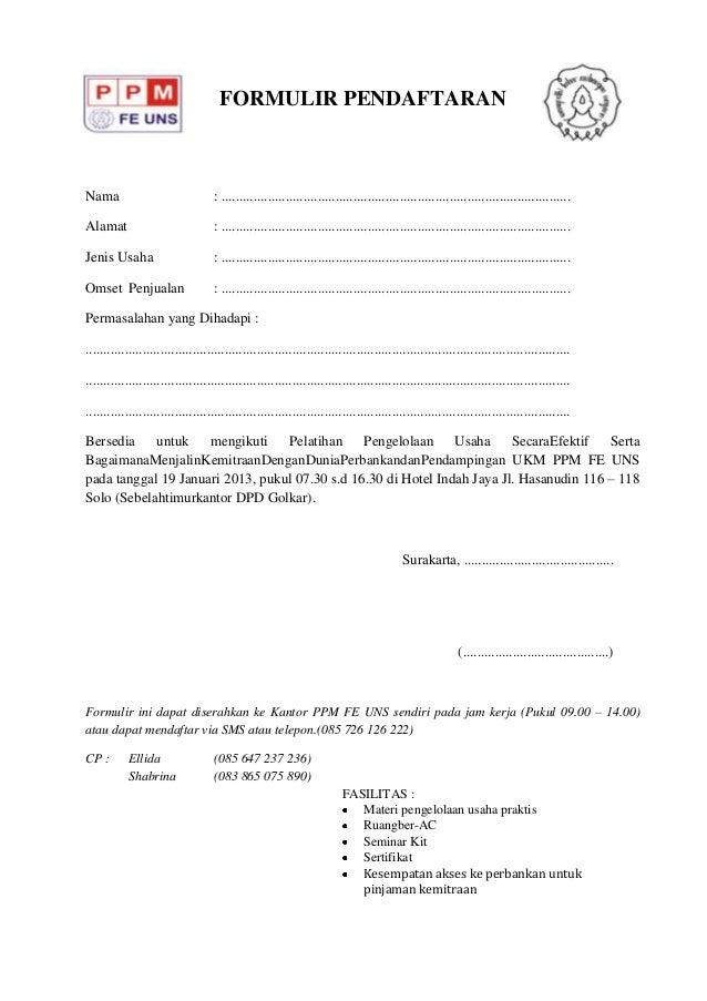 Formulir Pendaftaran Ukm Ppm Gelombang 2