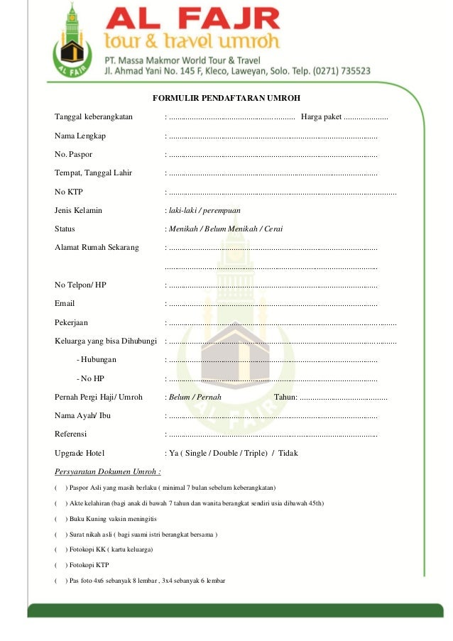 Formulir Pendaftaran Umroh Al Fajr Solo