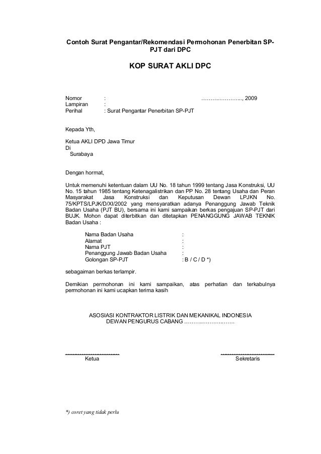 Contoh Surat Pengantar/Rekomendasi Permohonan Penerbitan SP- PJT dari DPC KOP SURAT AKLI DPC Nomor : ………………….., 2009 Lampi...