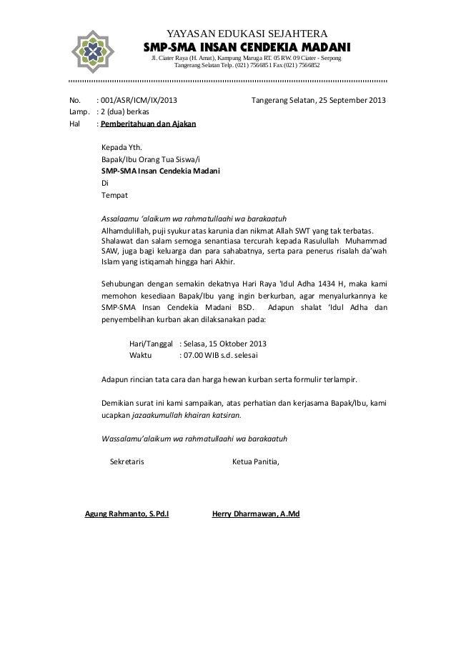 Contoh Surat Pemberitahuan Qurban