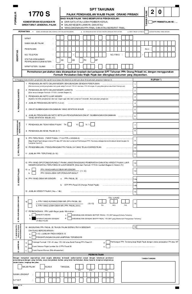Contoh Formulir Spt 1770 S 2014 Pajak Penghasilan Wajib Pajak Orang P