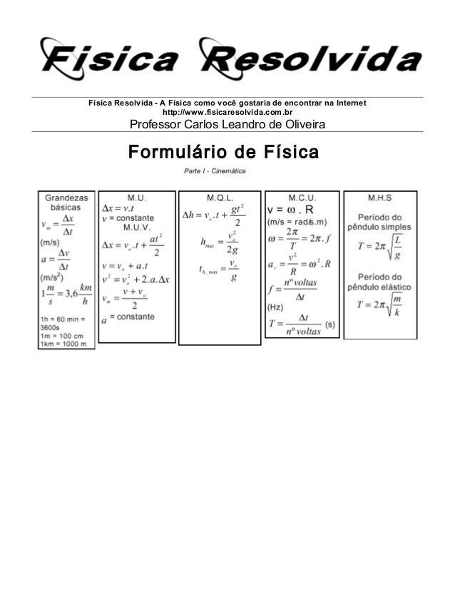 Física Resolvida - A Física como você gostaria de encontrar na Internet http://www.fisicaresolvida.com.br Professor Carlos...