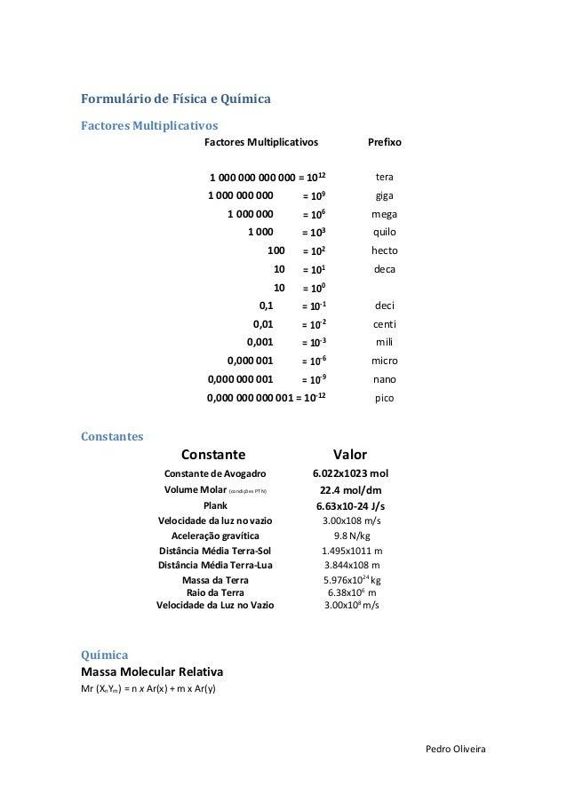 Formulário de Física e Química Factores Multiplicativos Factores Multiplicativos  Prefixo  1 000 000 000 000 = 1012  tera ...