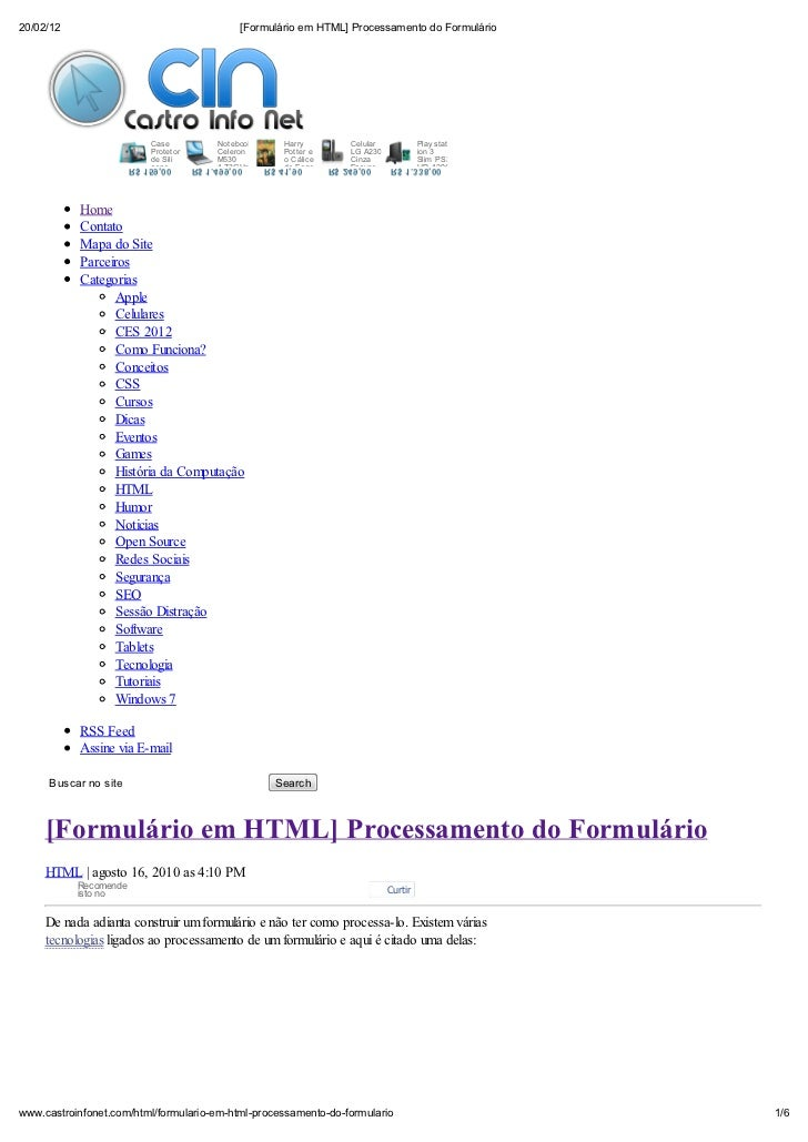 20/02/12                                          [Formul rio em HTML] Processamento do Formul rio                        ...