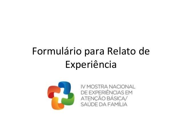 Formulário para Relato de Experiência