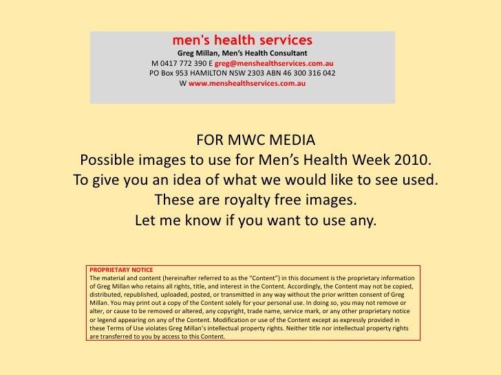 men's health services<br />Greg Millan, Men's Health Consultant <br />M 0417 772 390 E greg@menshealthservices.com.au<br /...
