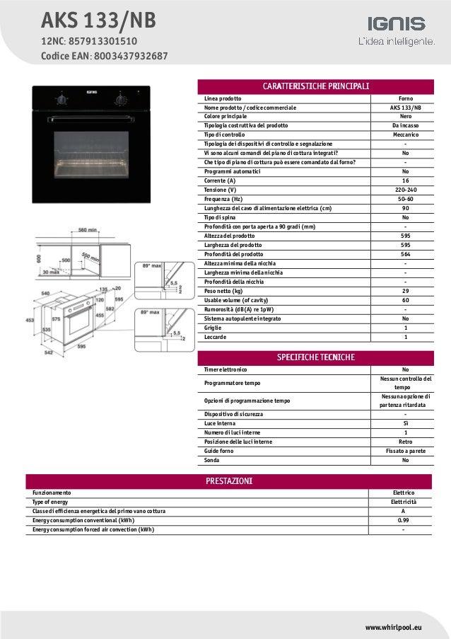 CCARAARATTERISTTERISTTICHE PRINCICHE PRINCIPIPALIALI Linea prodotto Forno Nome prodotto / codice commerciale AKS 133/NB Co...