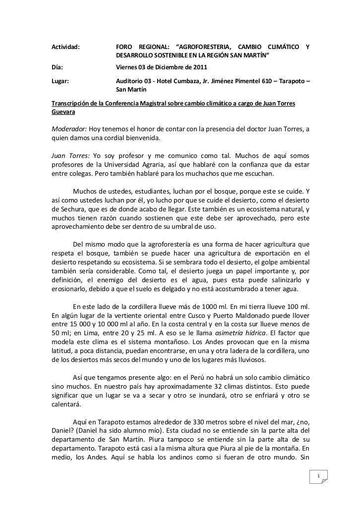 """Actividad:             FORO REGIONAL: """"AGROFORESTERIA, CAMBIO CLIMÁTICO                   Y                       DESARROL..."""