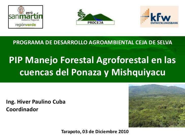 PROGRAMA DE DESARROLLO AGROAMBIENTAL CEJA DE SELVA PIP Manejo Forestal Agroforestal en las   cuencas del Ponaza y Mishquiy...
