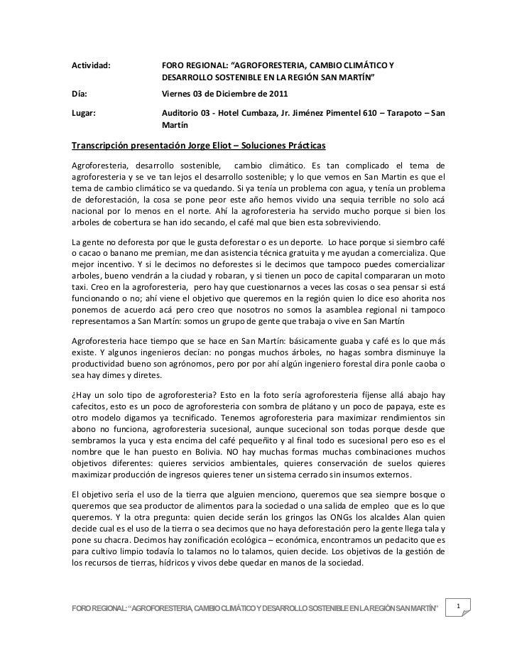 """Actividad:              FORO REGIONAL: """"AGROFORESTERIA, CAMBIO CLIMÁTICO Y                        DESARROLLO SOSTENIBLE EN..."""