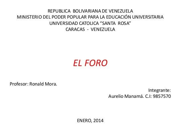 """REPUBLICA BOLIVARIANA DE VENEZUELA MINISTERIO DEL PODER POPULAR PARA LA EDUCACIÓN UNIVERSITARIA UNIVERSIDAD CATOLICA """"SANT..."""