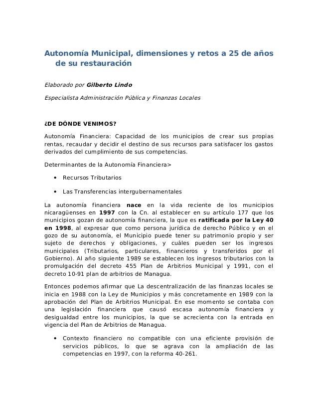 Autonomía Municipal, dimensiones y retos a 25 de años  de su restauraciónElaborado por Gilberto LindoEspecialista Administ...