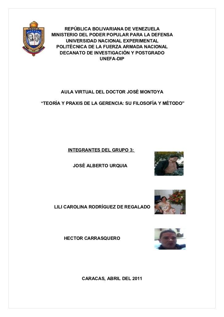 REPÚBLICA BOLIVARIANA DE VENEZUELA   MINISTERIO DEL PODER POPULAR PARA LA DEFENSA         UNIVERSIDAD NACIONAL EXPERIMENTA...