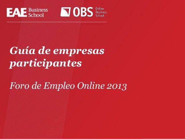 Guía de empresas participantes Foro de Empleo Online 2013