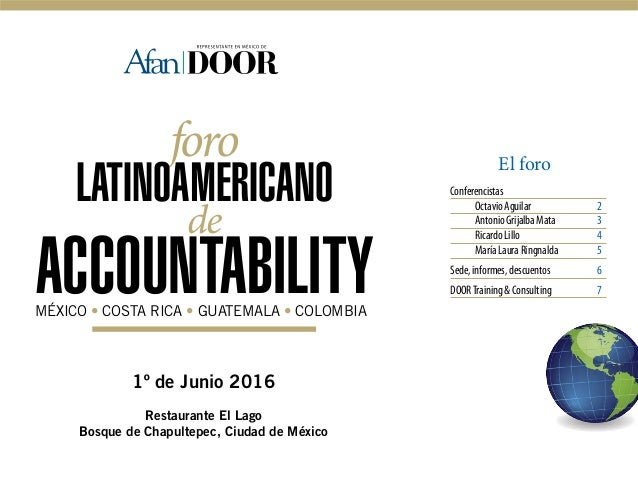 1º de Junio 2016 Restaurante El Lago Bosque de Chapultepec, Ciudad de México foro LATINOAMERICANO de ACCOUNTABILITYMÉXICO ...