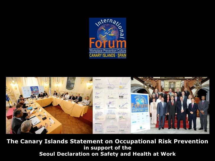 The Canary Islands Statement on Occupational Risk Prevention in support of the Seoul Declaration on Safety and Health at W...