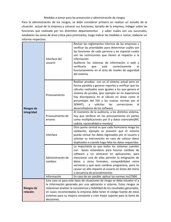 Medidas a tomar para las prevención y administración de riesgosPara la administración de los riesgos, se debe considerar p...
