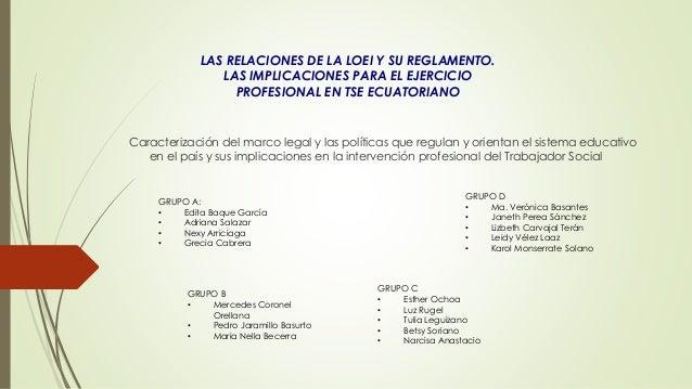 LAS RELACIONES DE LA LOEI Y SU REGLAMENTO. LAS IMPLICACIONES PARA EL EJERCICIO PROFESIONAL EN TSE ECUATORIANO Caracterizac...