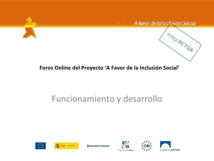 Foros Online del Proyecto 'A Favor de la Inclusión Social'          Funcionamiento y desarrollo