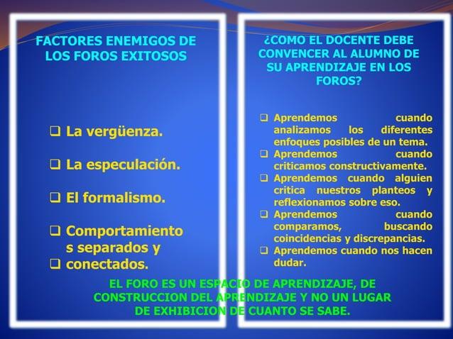 FACTORES ENEMIGOS DE  LOS FOROS EXITOSOS  ¿COMO EL DOCENTE DEBE  CONVENCER AL ALUMNO DE  SU APRENDIZAJE EN LOS  FOROS?   ...