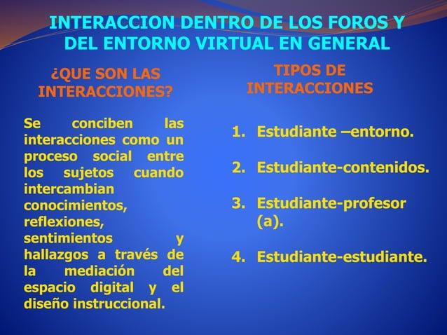 INTERACCION DENTRO DE LOS FOROS Y  DEL ENTORNO VIRTUAL EN GENERAL  ¿QUE SON LAS  INTERACCIONES?  Se conciben las  interacc...