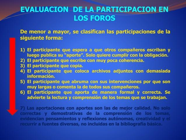 EVALUACION DE LA PARTICIPACION EN  LOS FOROS  De menor a mayor, se clasifican las participaciones de la  siguiente forma: ...