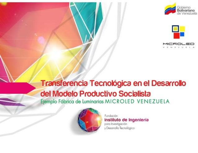 Transferencia Tecnológica en el Desarrollo del Modelo Productivo Socialistadel Modelo Productivo Socialista Ejemplo Fábric...