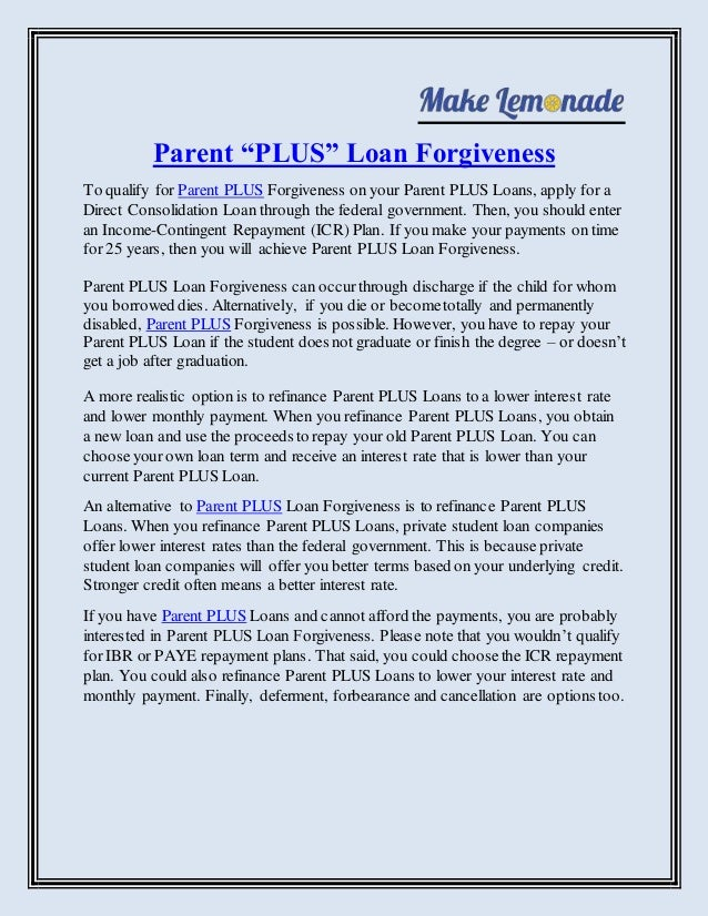 Consolidating parent plus student loans