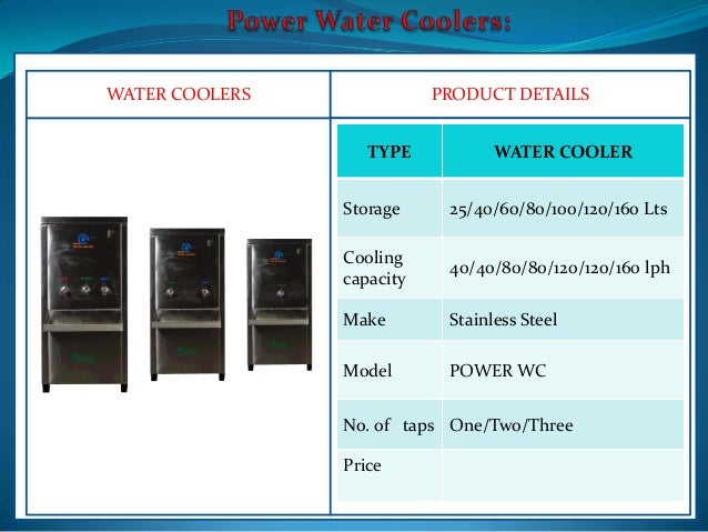 WATER COOLERS PRODUCT DETAILS TYPE WATER COOLER Storage ...
