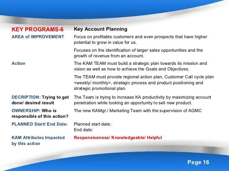 Key market improvement plan 2013