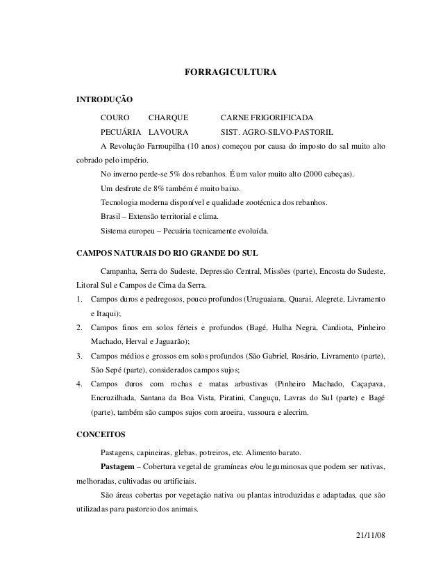 21/11/08 FORRAGICULTURA INTRODUÇÃO COURO CHARQUE CARNE FRIGORIFICADA PECUÁRIA LAVOURA SIST. AGRO-SILVO-PASTORIL A Revoluçã...