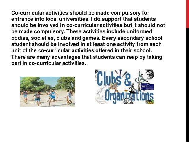 Co-curricular activities should be made compulsory essay writer
