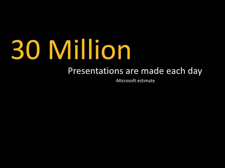 30 Million     Presentations are made each day               -Microsoft estimate