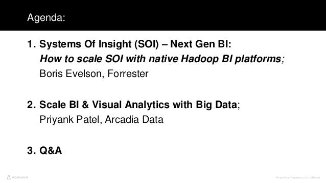 Arcadia Data. Proprietary and Confidential4 Agenda: 1. Systems Of Insight (SOI) – Next Gen BI: How to scale SOI with nativ...
