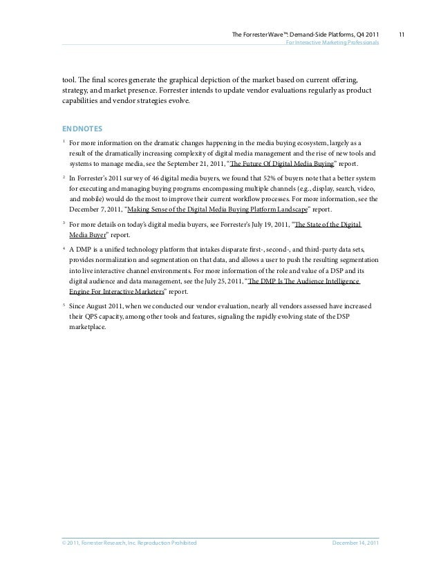 © 2011, Forrester Research, Inc. Reproduction Prohibited December 14, 2011 The Forrester Wave™: Demand-Side Platforms, Q4 ...