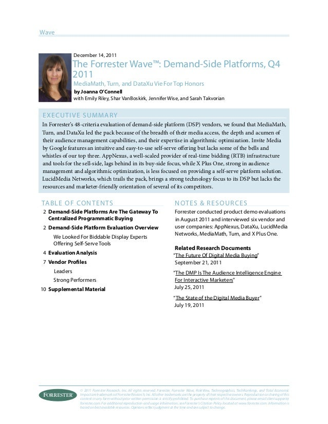© 2011 Forrester Research, Inc. All rights reserved. Forrester, Forrester Wave, RoleView, Technographics, TechRankings, an...
