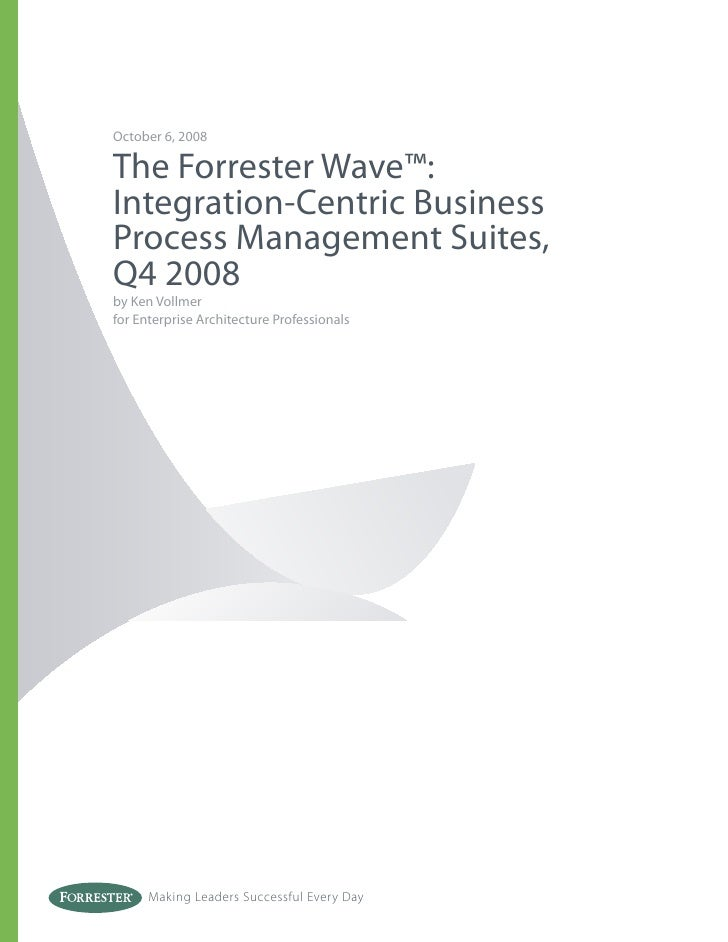 October 6, 2008  The Forrester Wave™: Integration-Centric Business Process Management Suites, Q4 2008 by Ken Vollmer for E...