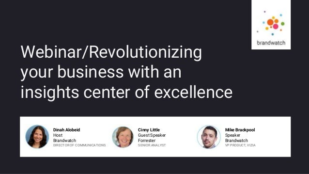 BRANDWATCH.COM Webinar/Revolutionizing your business with an insights center of excellence Dinah Alobeid Host Brandwatch D...