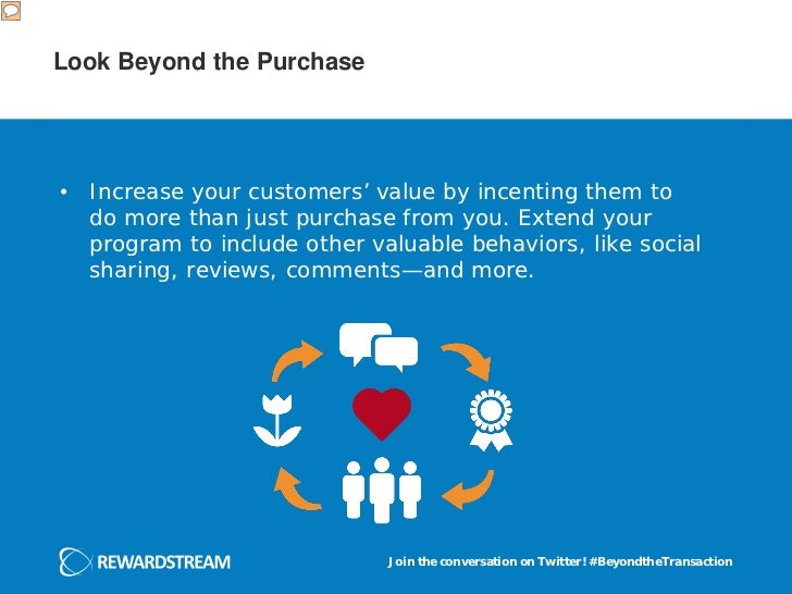 Look Beyond the Purchase• Increase your customers' value by incenting them to  do more than just purchase from you. Extend...