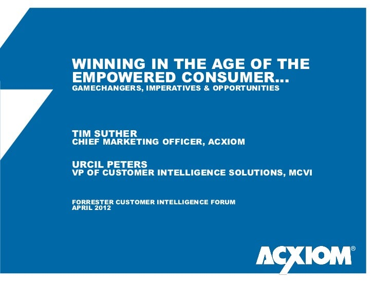 WINNING IN THE AGE OF THEEMPOWERED CONSUMER…GAMECHANGERS, IMPERATIVES & OPPORTUNITIESTIM SUTHERCHIEF MARKETING OFFICER, AC...