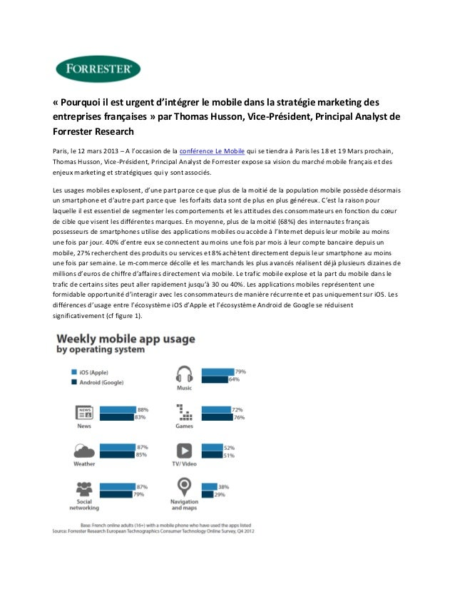« Pourquoi il est urgent d'intégrer le mobile dans la stratégie marketing desentreprises françaises » par Thomas Husson, V...