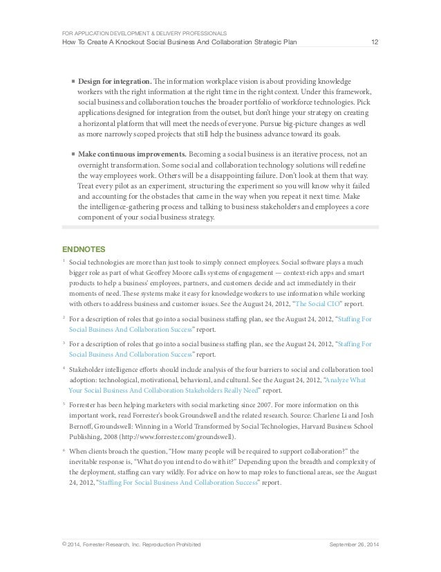 Forrester How To Create A Knockout Social Business And Collaboration