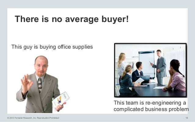 There is no average buyer! This guy is buying office supplies  This team is re-engineering a complicated business problem ...