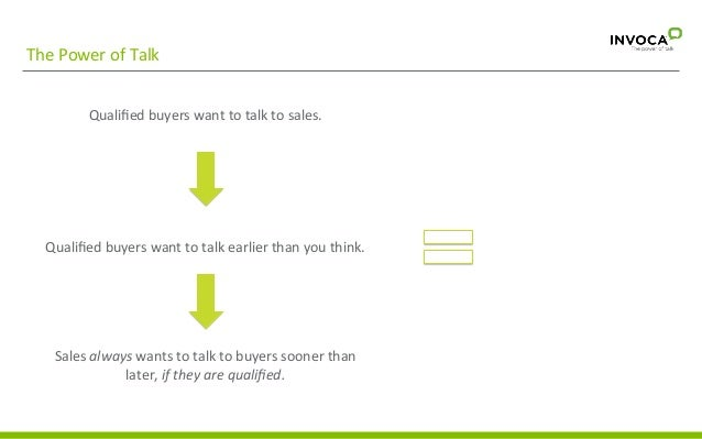 The  Power  of  Talk   Qualified  buyers  want  to  talk  to  sales.               Qualified ...