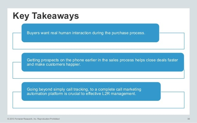 Key Takeaways Buyers want real human interaction during the purchase process.  Getting prospects on the phone earlier in t...