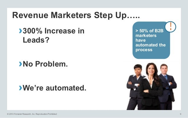 Revenue Marketers Step Up…..  ›300% Increase in Leads?  > 50% of B2B marketers have automated the process  ›No Problem. ...