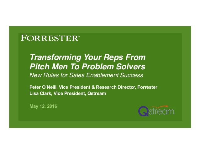 Transforming Your Reps From Pitch Men To Problem Solvers