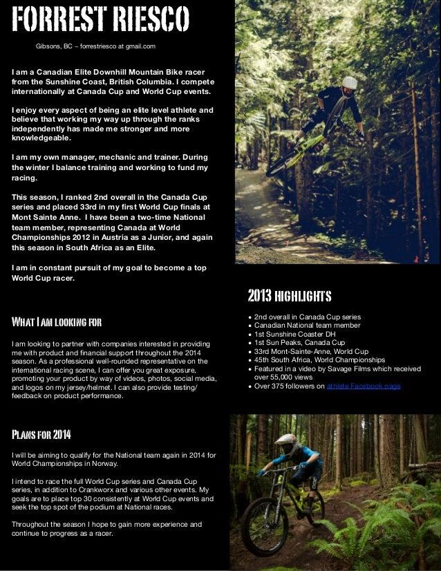 bike racer resume