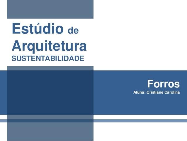 Estúdio de Arquitetura SUSTENTABILIDADE  Forros Aluna: Cristiane Carolina